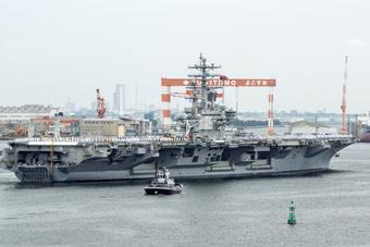 又来闯南海?美军里根号航母从日本出港