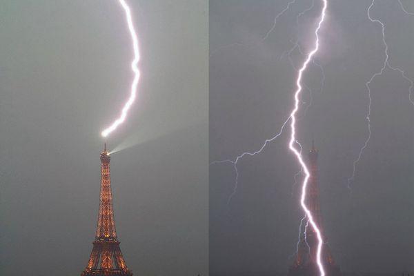 埃菲尔铁塔,被雷劈!