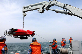 海军演习反水雷无人潜航器登场