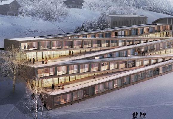 """瑞士将建可以沿着屋顶滑雪酒店 屋顶成""""之""""字形"""