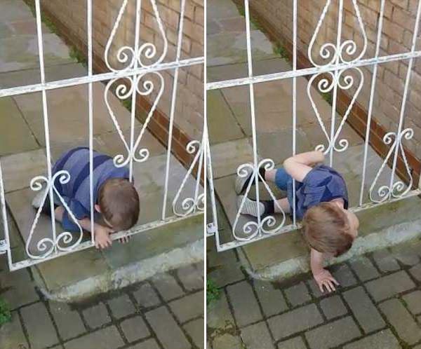 英3岁男童趁父母不注意从铁门缝隙钻出玩耍