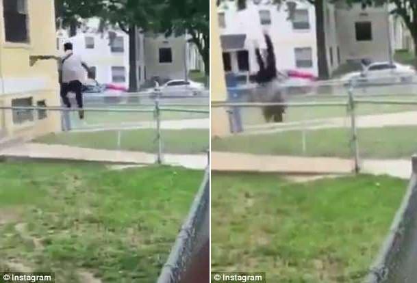 厉害了!美男子身手敏捷 前空翻越过围栏逃脱警察追击