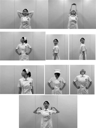 护士长示范颈我爱大针筒椎保健操 一起做起来!