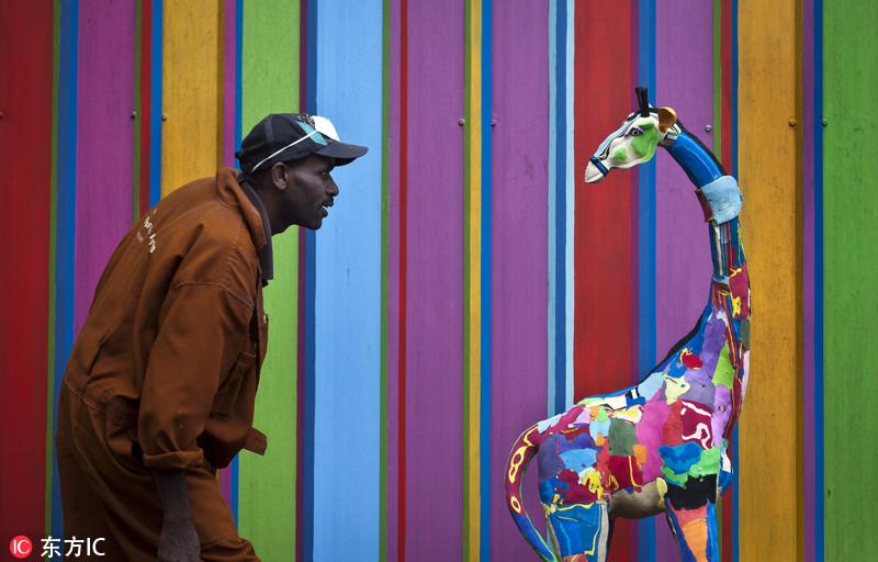手绘动物艺术长颈鹿