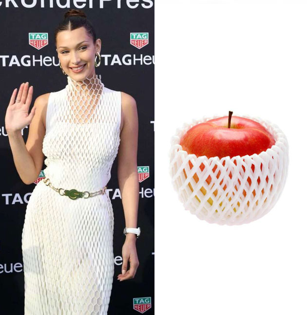 Bella Hadid撞衫苹果保鲜膜?贝嫂撞衫胡萝卜!