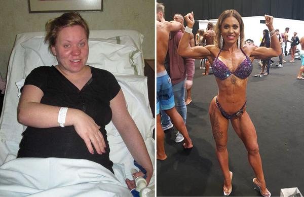 英女子产后暴饮暴食体重飙升 坚持健身甩掉赘肉