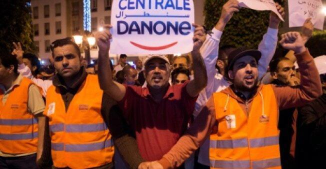 达能摩洛哥分公司员工深夜示威 抗议失业危机