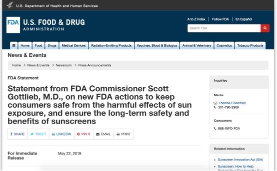 FDA公告被误读 外涂配合口服防晒需被重视