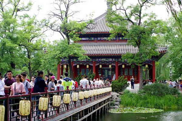 北京烟雨蒙蒙 市民周末游圆明园