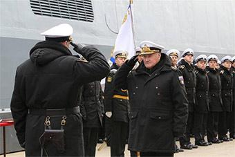 俄海军海洋调查船返回基地 海军司令亲自迎接