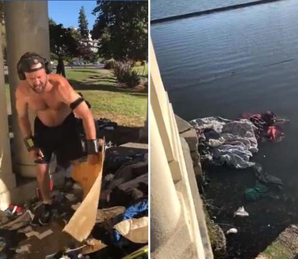 美男子将流浪者物品丢进湖里 行为无礼引公愤