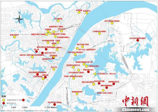武汉发布最新渍水风险图 中心城区44处易渍水点