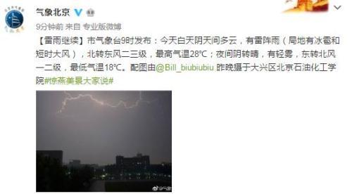 北京今日有雷阵雨 局地有冰雹和短时大风