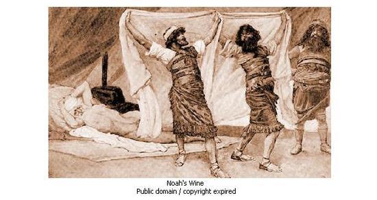诺亚的儿子为其盖毯子