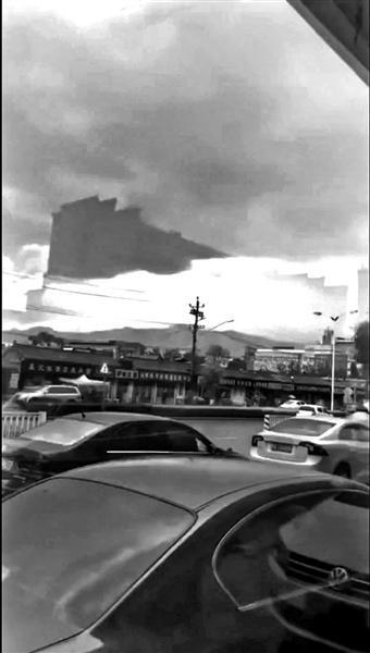 """网传北京延庆""""海市蜃楼""""视频 气象局:建筑物投影"""