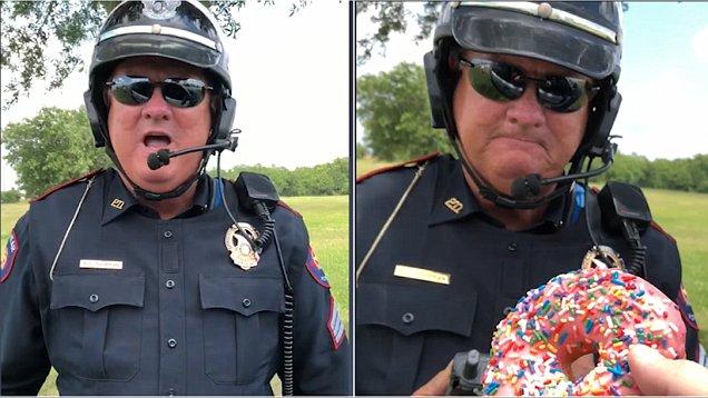 """美交警收受甜甜圈""""贿赂""""曝光 原是拍搞笑视频"""