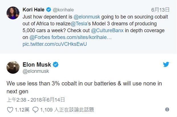 马斯克:特斯拉电池钴用量不到 3% 次代用量是零