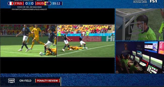世界杯首次使用视频助理裁判 法国获改判点球