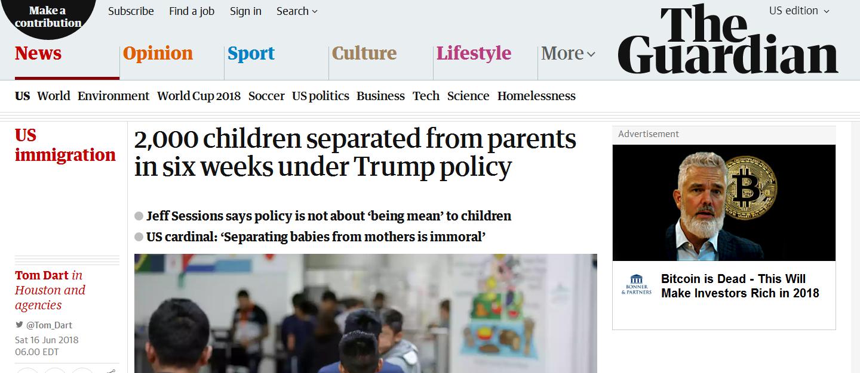 人权呢?近2000名儿童与家长被迫在美墨边境分离 联合国抨击