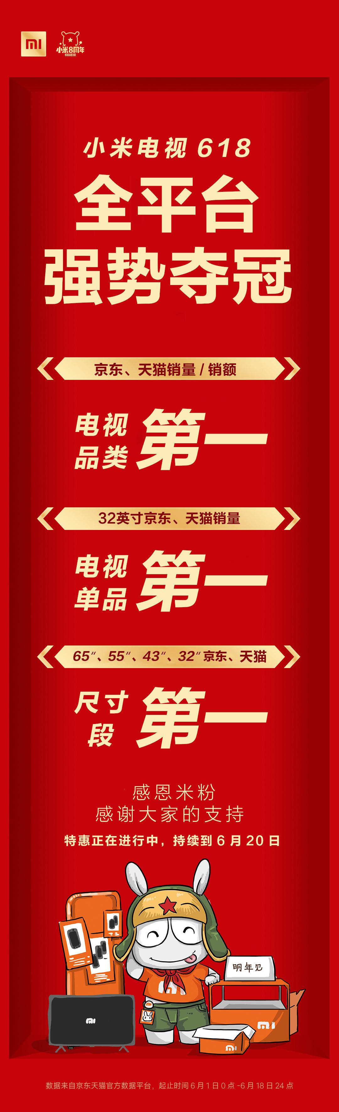 618小米电视成最大赢家 京东天猫销量销售额均夺冠