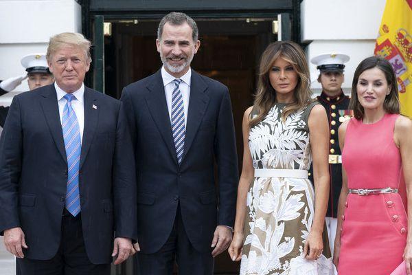 特朗普会晤西班牙国王 美第一夫人与王后莱蒂齐亚同框比美