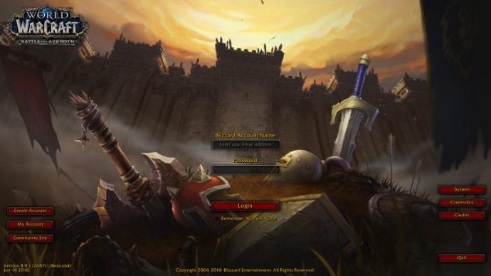 《魔兽世界》8.0登陆界面 战火重燃艾泽拉斯