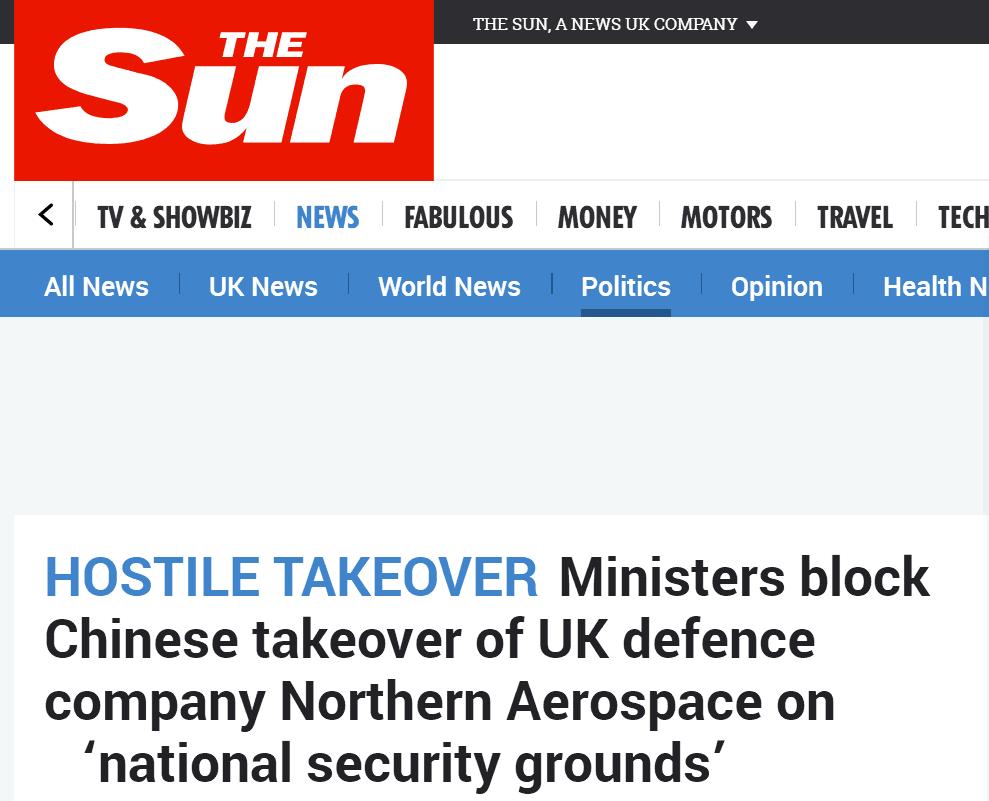 """时时彩人工计划:英官员欲阻止中企收购英国防务公司 宣称怕""""敏感机密外泄"""""""