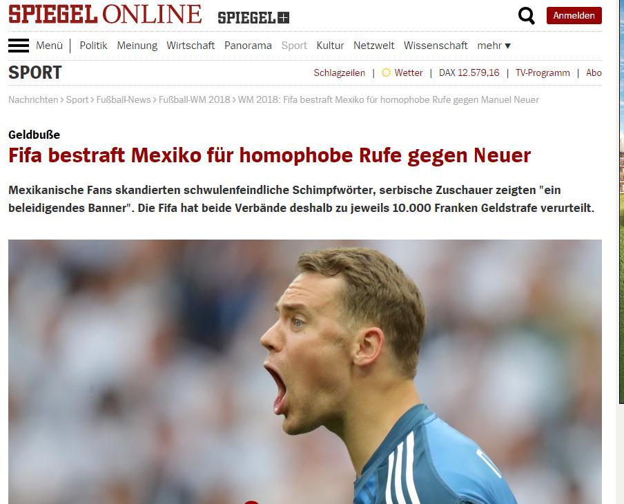 墨西哥球迷世界杯赛场上辱骂德国门将是同性恋,该国足协买单!