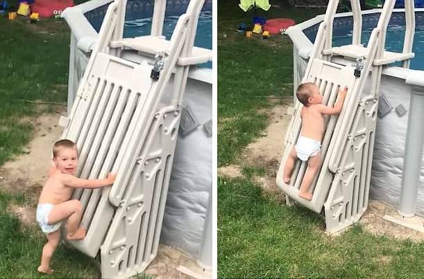 美国两岁幼童攀爬泳池扶梯身手敏捷 引起父母警觉