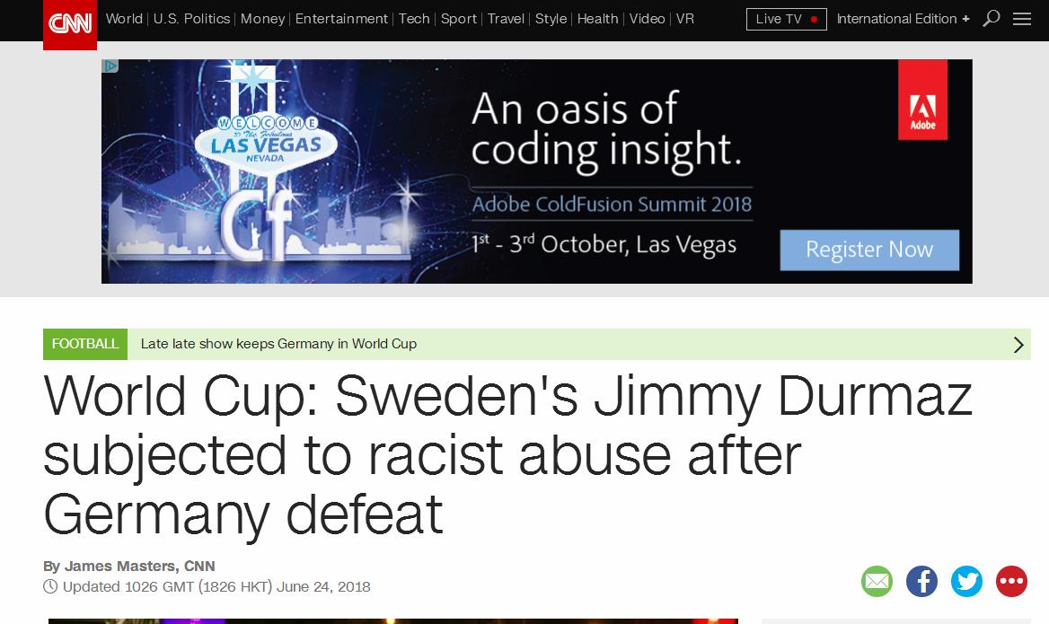 键盘侠哪儿都有!瑞典输球罪人遭种族歧视攻击