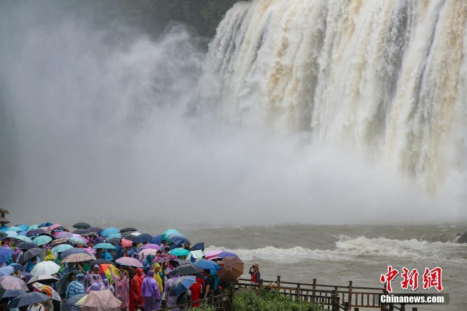 贵州黄果树瀑布进入丰水期吸引大批游客