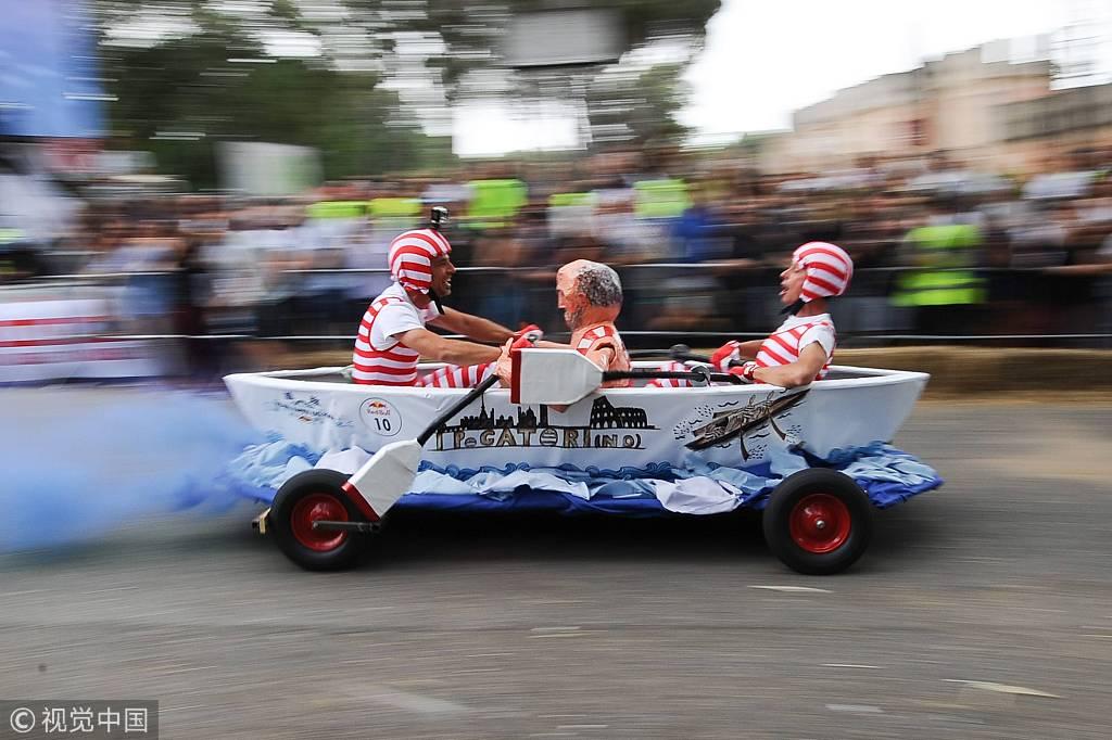 罗马举办红牛超奇葩赛事 肥皂盒赛车奇形怪状趣味十足