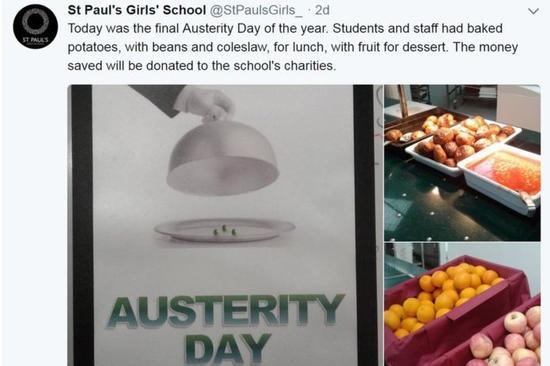 伦敦贵族学校让孩子体验贫困:不吃三文鱼烤土豆