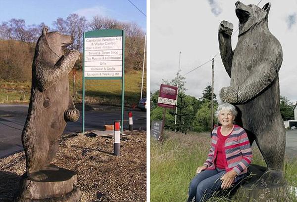 公路边熊雕塑逼真惹祸 女司机受惊吓撞上路标