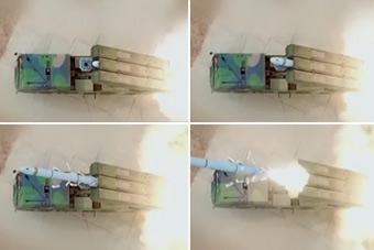 点穴利器:独特视角拍摄东风-10A导弹出箱
