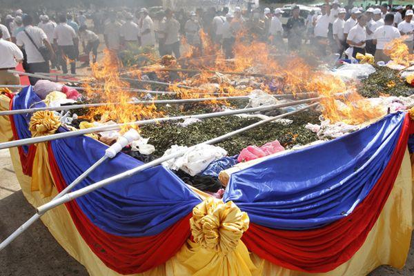国际禁毒日 柬埔寨销毁超3吨毒品