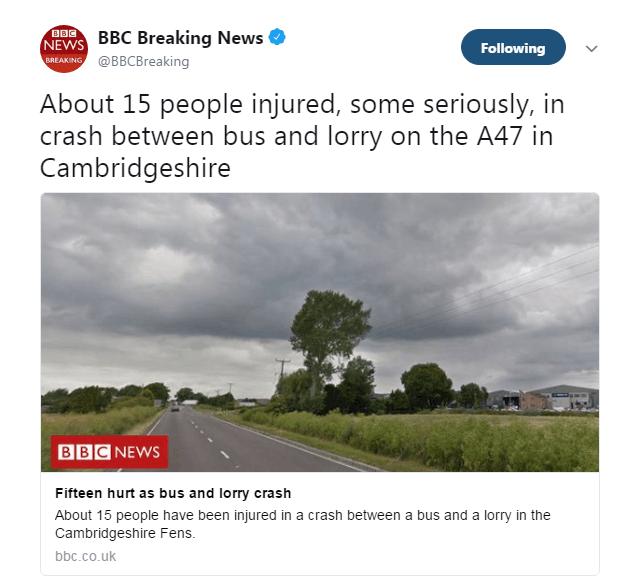 快讯!英国剑桥郡卡车与公交相撞 多人受伤