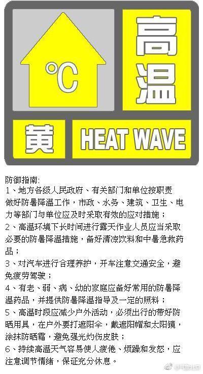 北京高温来袭!26日-28日黄色高温预警 最高温将达35度以上