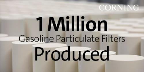 康宁庆祝汽油颗粒过滤器产量达100万件