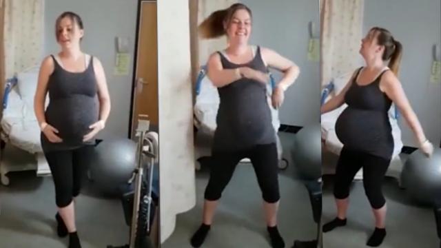 英国孕妇等待分娩 为缓解焦虑欢快跳舞