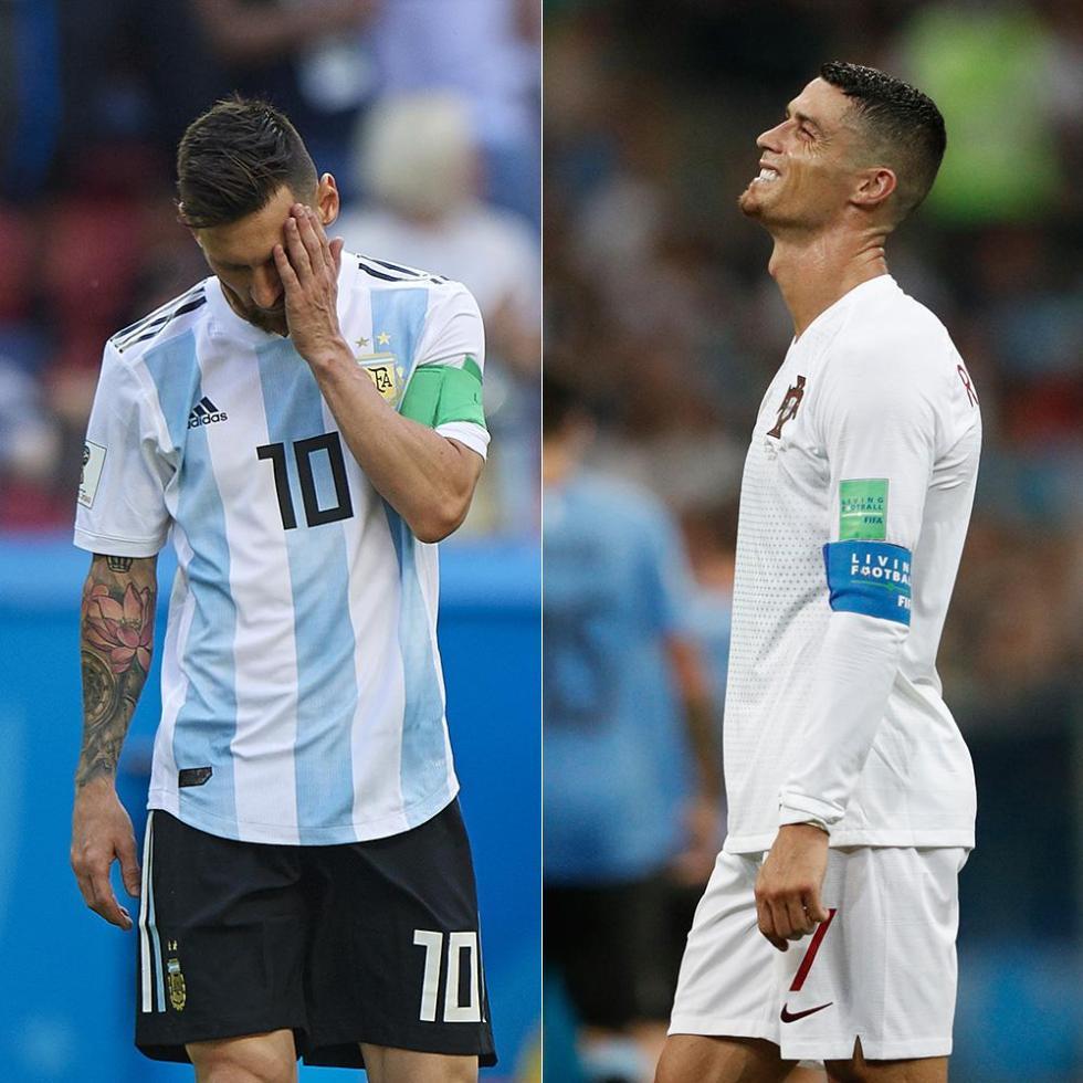 邪门!C罗梅西中了同一种毒!世界杯淘汰赛48射0球