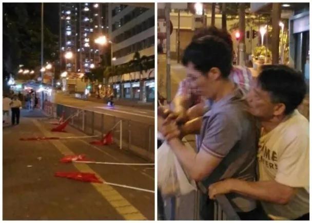 香港一青年当街破坏国旗,被路过老人直接制服!