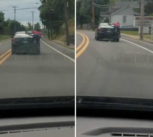 美国一男子趴汽车后面行驶近1.6公里 与司机对喊