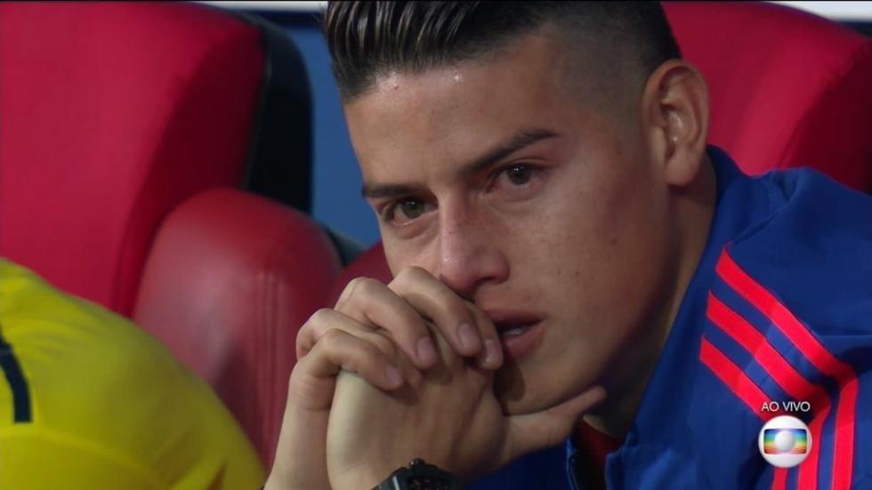 J罗心碎一地!赛后瘫在替补席流泪 哭得双眼通红