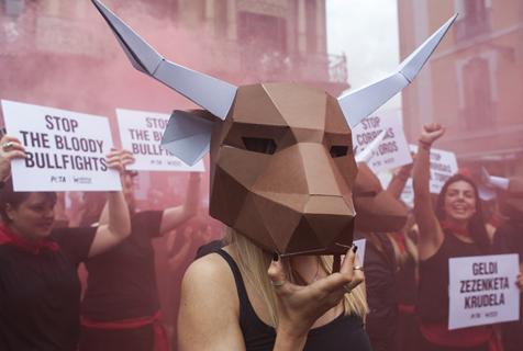 西班牙奔牛节即将到来 民众抗议虐待动物
