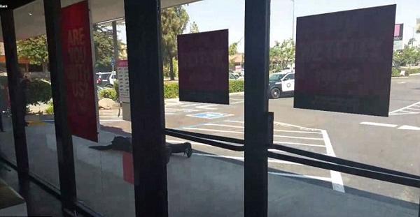 美黑人男子无故被疑为抢劫犯被迫爬出商店