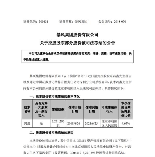 暴风集团:董事长兼CEO冯鑫所持部分股份被冻结