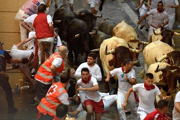 西班牙狂欢者庆祝圣佛明节 多人遭牛角抵伤
