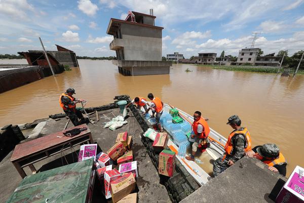 江西抚州遇暴雨洪水成泽国 紧急转移千余人