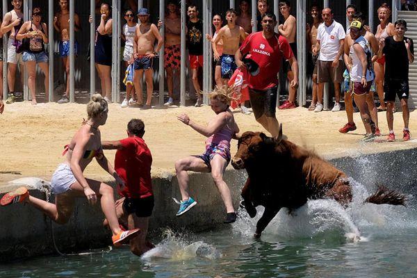 """西班牙上演""""奔牛入海"""" 狂欢者挑衅公牛一同跳入海中"""